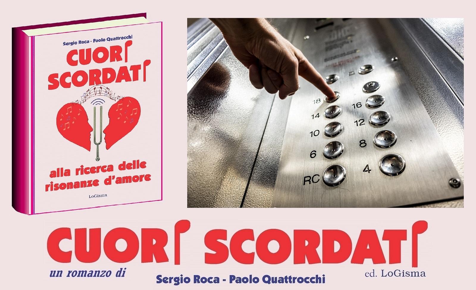 Libro Cuori Scordati e dito che spinge pulsante di ascensore